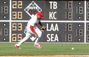 Phillies centerfielder Ben Revere has had his struggles in the outfield. Photo by Webster Riddick.
