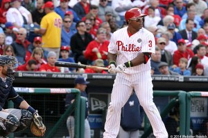 Phillies right fielder Marlon Byrd had two runs batted in, but it wasn't as the Phils lose their third straight. Webster Riddick.