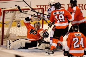 Flyers goal tender Steve Mason saved 34 of 36 shots on goal. Photo by Webster Riddick.