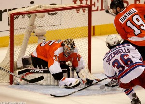 Steve Mason had 37 saves in win over the New York Rangers Friday night.  Photo by Webster Riddick.