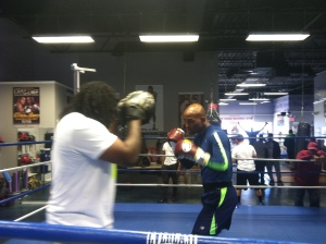 Bernard Hopkins was back in the gym in this week after last Saturday's win over Beibut Shuemenov. Photo by Chris Murray.