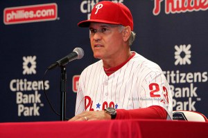 Phillies interim manager Ryne Sandberg said Phillies have to better fundamentally. Photo by Webster Riddick.