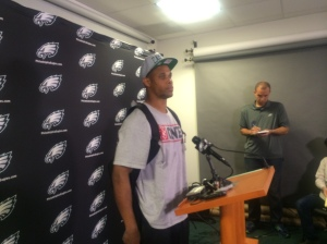 Rookie wide receiver Jordan Matthews taking questions from reporters during a rookie camp press conference.   Photo by Chris Murray.