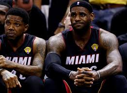 LeBron James scored 31 points and had 10 rebounds in the Heat's Game 5 loss to the San Antonio Spurs in the 2014 NBA Finals. The Spurs won the series 4-1.