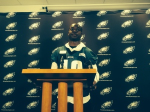 Eagles wide receiver Jeremy Maclin addresses reporters after organized team activities last week at the Eagles Nova Care Practice facility in South Philadelphia. Photo by Chris Murray.