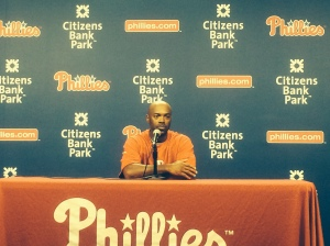 Jimmy Rollins takes questions from the media after breaking Mike Schmidt's all-time hits record. Photo by Chris Murray