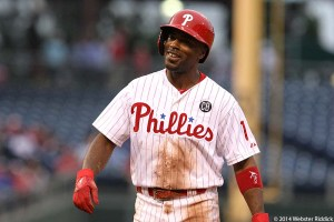 Jimmy Rollins surpassed Mike Schmidt on the Phillies all-time hits list in Saturday's 7-4 win over the Chicago Cubs. Photo by Webster Riddick.