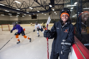 For four years Tarasai Karega has been coaching young people and inspiring them to do well on the ice and in the classroom as a program coordinator with the Ed Snider Hockey Foundation. Submitted Photo.