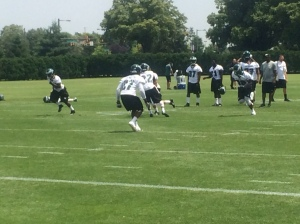 Malcolm Jenkins (27) participates in minicamp drills in late June. Photo by Chris Murray.