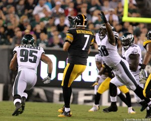 Mychal Kendricks and Trent Cole go after Steelers quarterback Ben Roethlisberger in Thursday's preseason game at Lincoln Financial Field. Photo by Webster Riddick.