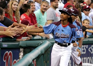 Taney Dragons pitcher Mo'ne Davis and her teammates took a victory lap around Citizen's Bank Park.  Photo by Webster Riddick.