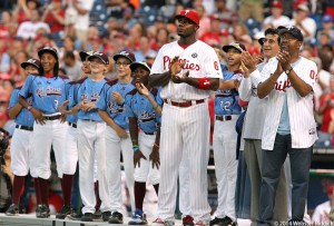 After the Parade down Broad Street, the Taney Dragons were honored by Ryan Howard and the Philadelphia Phillies at Citizen's Bank Park before Wednesday's game against the Washington Nationals. Photo by Webster Riddick.