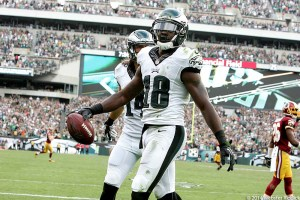 Jeremy Maclin has been the big home run hitter among the Eagles receivers. Photo by Webster Riddick.