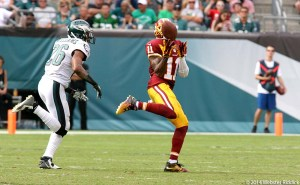 Washington wide receiver DeSean Jackson speeds past Eagles cornerback Cary Williams for a 81-yard touchdown pass. Photo by Webster Riddick.