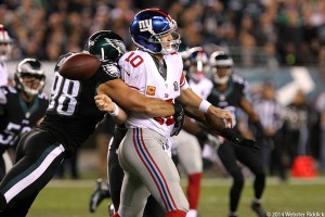 Eagles linebacker Connor Barwin Gets one of his three sacks of Eli Manning in the Birds 27-0 win over the New York Giants at Lincoln Financial Field Sunday Night. Photo by Webster Riddick.