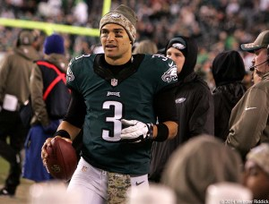 Happy days appear to be here again for Eagles quarterback Mark Sanchez. He came up big against the Carolina Panthers Monday night. His next assignment will be at Lambeau Field in Green Bay.  Photo by Webster Riddick.