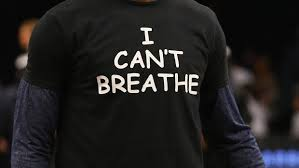 "Athletes from football and basketball are donning, ""I Can't Breathe"" Tee-Shirts to show support for protesters across. Photo by CBS Lov"