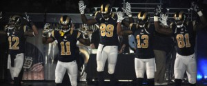 (from left to right):  Stedman  Bailey, Tavon Austin, Jared Cook, Chris Givens and Kenny Britt expressed their solidarity with activists protesting against the no indictment ruling in favor of Ferguson police officer who killed 18-year-old Michael Brown.  Photo by Huffington Post.