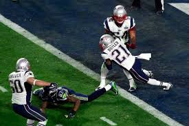 New England's Vince Butler makes the game-saving interception for the Patriots in their 28-24 win over Seattle in Super Bowl XLIX.