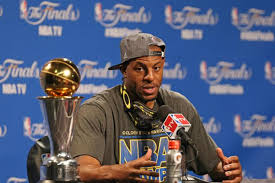 NBA Finals MVP Andre Iguodala takes questions from reporters after the Golden State Warriors defeated the Cleveland Cavaliers in six games for the NBA crown.  Photo by New York Daily News.com